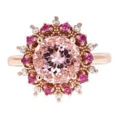3.24 Carat Pink Morganite Sapphire Diamond Rose Gold Cocktail Ring