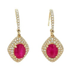 3.24 Carat Ruby and Diamond Earrings