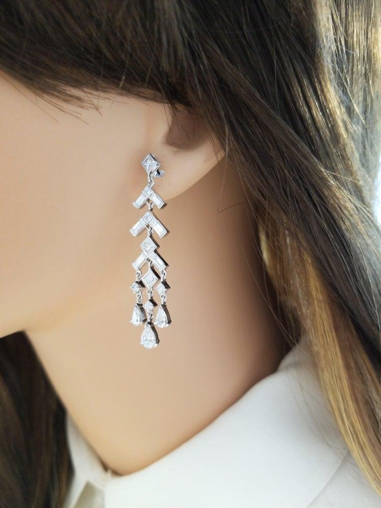 Baguette Cut 3.24 Carat Total Round, Baguette, Princess Cut and Pear Shape Diamond Earrings For Sale