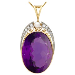 32.42Ct Amethyst Diamond and Cultured Pearl Yellow Gold and Platinum Pendant