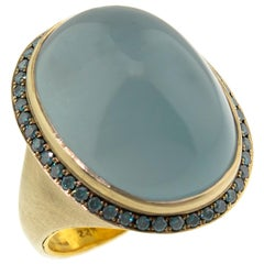 32.49ct Aquamarine and 0.58ct Blue Diamond 18kt and 22kt Ring by Dan Peligrad