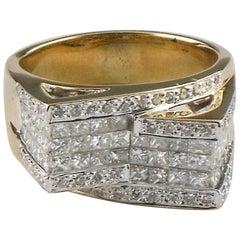 3.25 Carat 14 Karat Yellow Gold Princess and Round Cut Diamond Plaque Ring