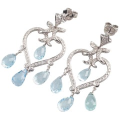 3.25 Carat Aquamarine & Diamond 18k White Gold Heart Shaped Chandelier Earrings