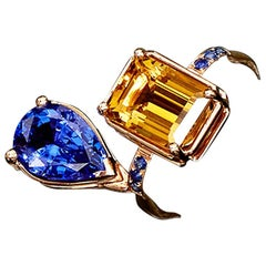 3.25 Carat Citrine and 2.73 Carat Tanzanite Contemporary Haute Cocktail Ring