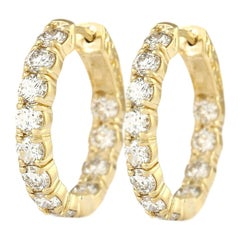 3.25 Carat Diamond 18 Karat Yellow Gold Earrings