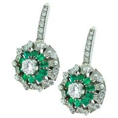 3.25 Carat Emerald and Diamond Drop Earrings, circa 1960