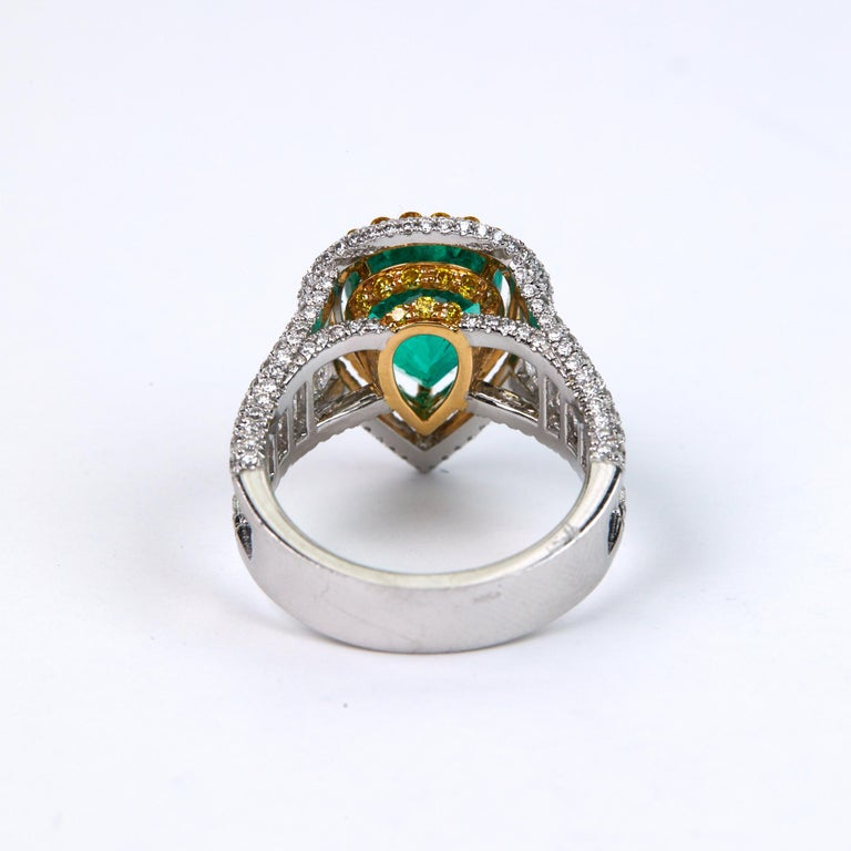 Pear Cut 3.25 Carat Emerald and Diamond Engagement Ring For Sale