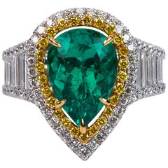 3.25 Carat Emerald and Diamond Engagement Ring
