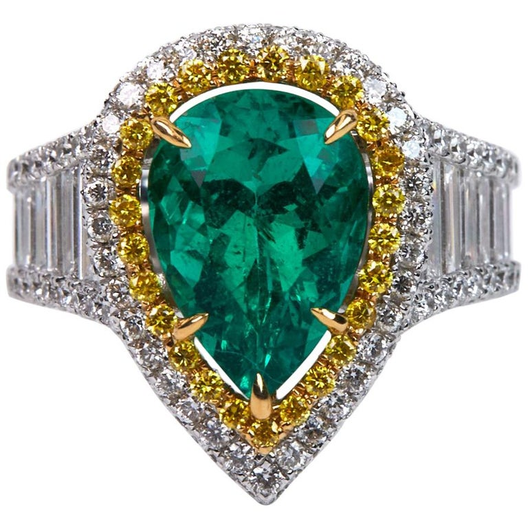 3.25 Carat Emerald and Diamond Engagement Ring For Sale