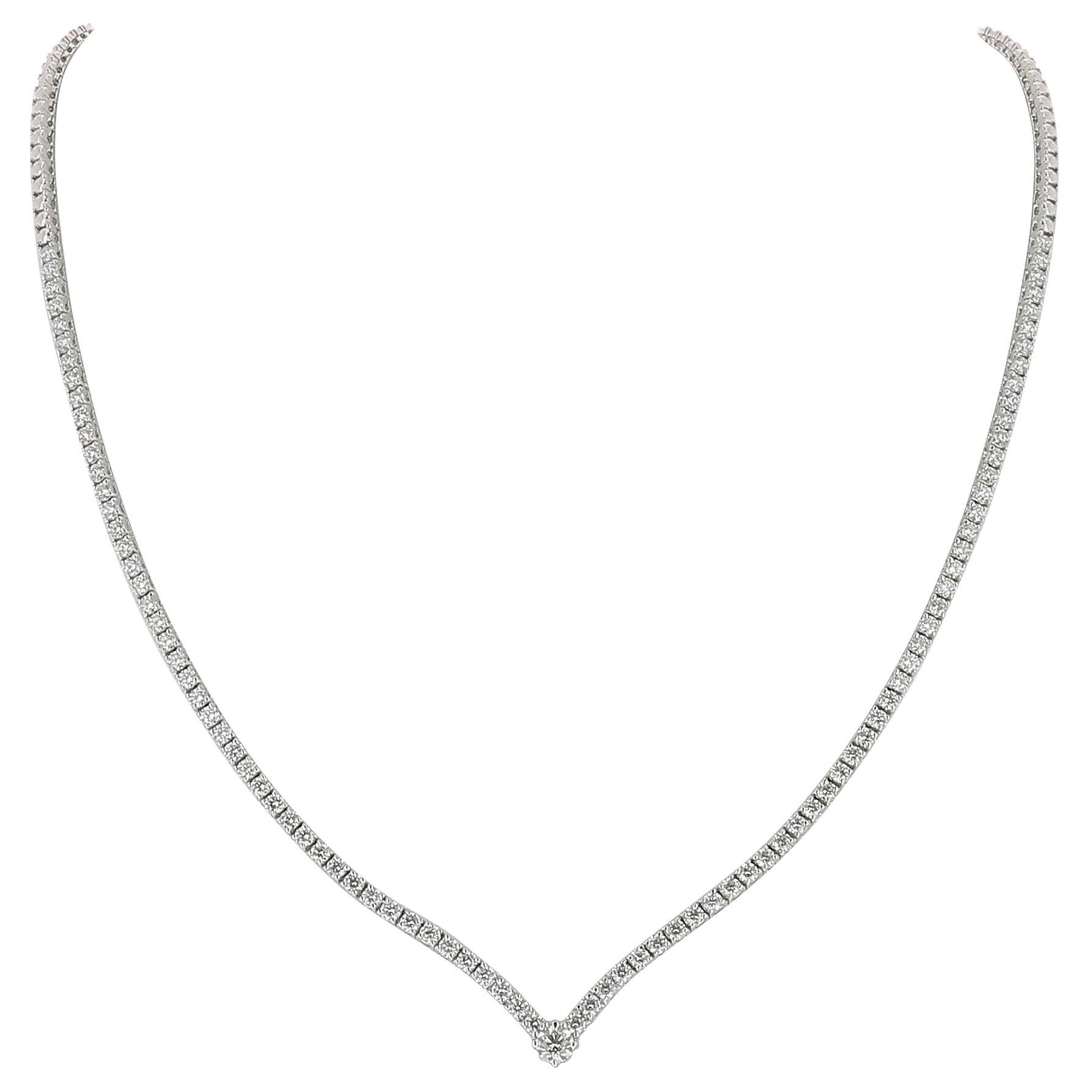 3.25 Carat GVS Round Diamonds Drop Necklace 18 Karat White Gold Riviera Necklace