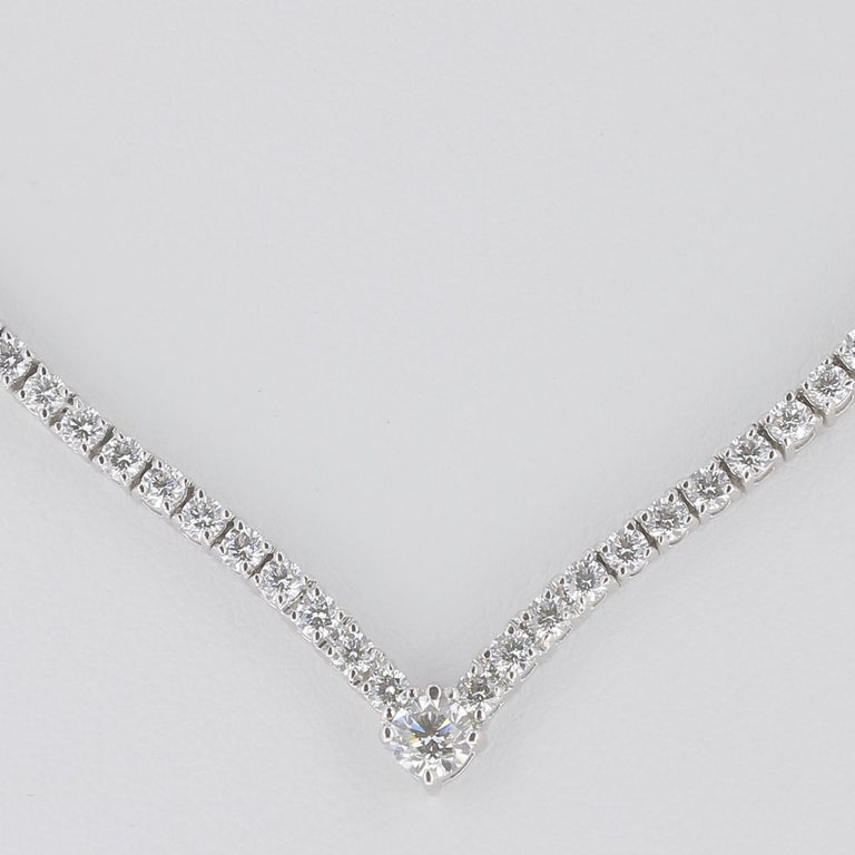 An unique Drop Diamond Necklaces set with 92 Brillant Round Diamonds and 1 Round Diamond  Totaly there is 93 Round Diamonds weight 3.25 Carat The White Diamonds are GVS qualities. The Necklace weight is 16.03 Grams This 18K White Gold Necklace is