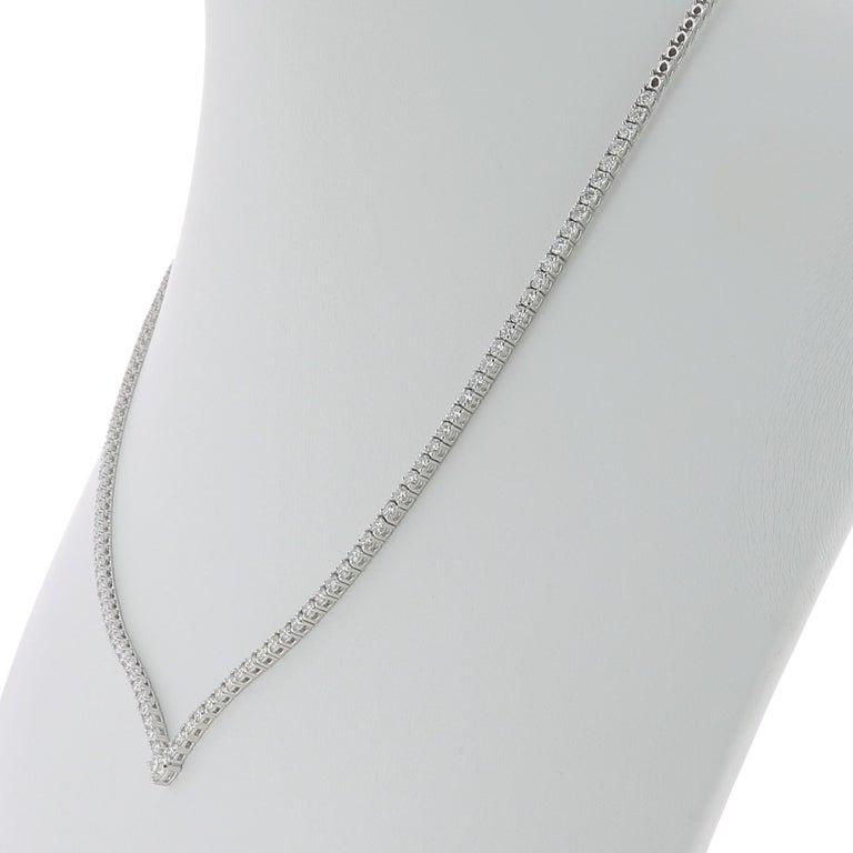 3.25 Carat GVS Round Diamonds Drop Necklace 18 Karat White Gold Riviera Necklace In New Condition For Sale In paris, FR