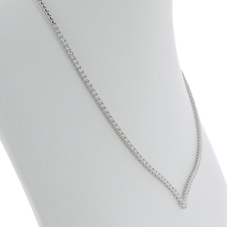 Women's or Men's 3.25 Carat GVS Round Diamonds Drop Necklace 18 Karat White Gold Riviera Necklace For Sale