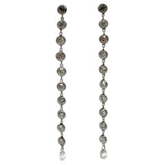 3.25 Carat Long Diamond Earrings in Platinum