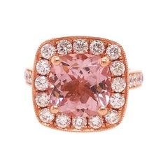 3.25 Carat Morganite and 1.25 Carat Diamond Halo Ring in 14 Karat Rose Gold