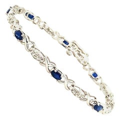 3.25 Carat Natural Sapphire and Diamond Bracelet G SI 14 Karat White Gold