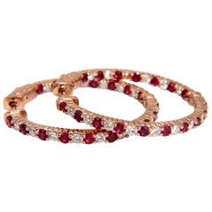 3.25 Carat Natural Vivid Red Ruby Diamond Hoop Earrings 14 Karat Rose Gold