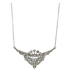 3.25 Carat Platinum 18k Gold Diamond Art Deco Crown with Wings Pendant Necklace