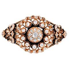 3.25 Carat Rose Cut Diamond Enamel Rose Gold Bangle Bracelet