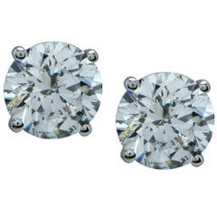 3.25 Carat Round Brilliant Cut Diamond Stud Earrings