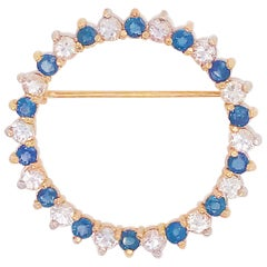 3.25 Carat Round Diamond and Round Blue Sapphire 14 Karat Yellow Gold Brooch/Pin
