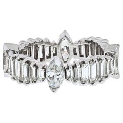 3.25 Carat Vintage Baguette, Marquise Diamond Platinum Eternity Band