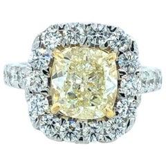 3.25 Carat Yellow Diamond Ring 18 Karat Gold