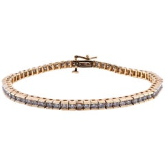 3.25 Carat Round Diamond In-Line Tennis Bracelet 14 Karat Yellow Gold
