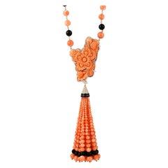 325.56 Carat Carved Coral Onyx Diamond 18 Karat Gold Pendant Necklace
