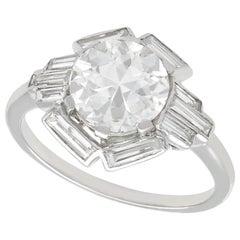 3.26 Carat Diamond and Platinum Cocktail Ring, Art Deco, Antique, circa 1935