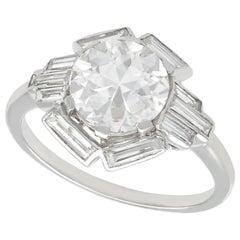 3.26 Carat Diamond and Platinum Cocktail Ring Art Deco Antique, circa 1935