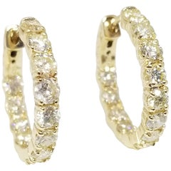 3.26 Carat Huggie Diamond Hoops Earrings 14 Karat Gold