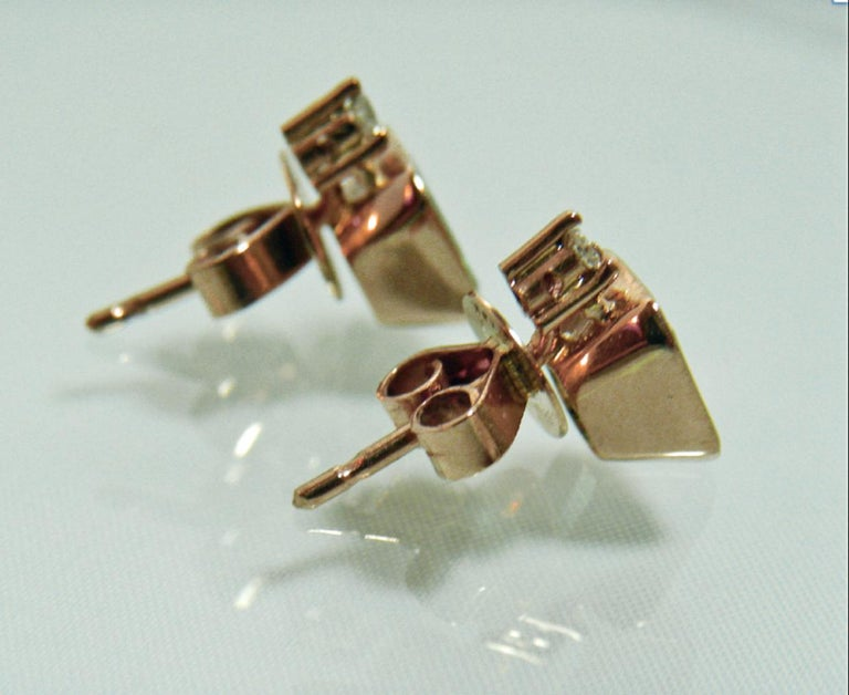 Emerald Cut 3.26 Carat Natural Green Colombian Emerald Stud Earrings 18 Karat Rose Gold For Sale