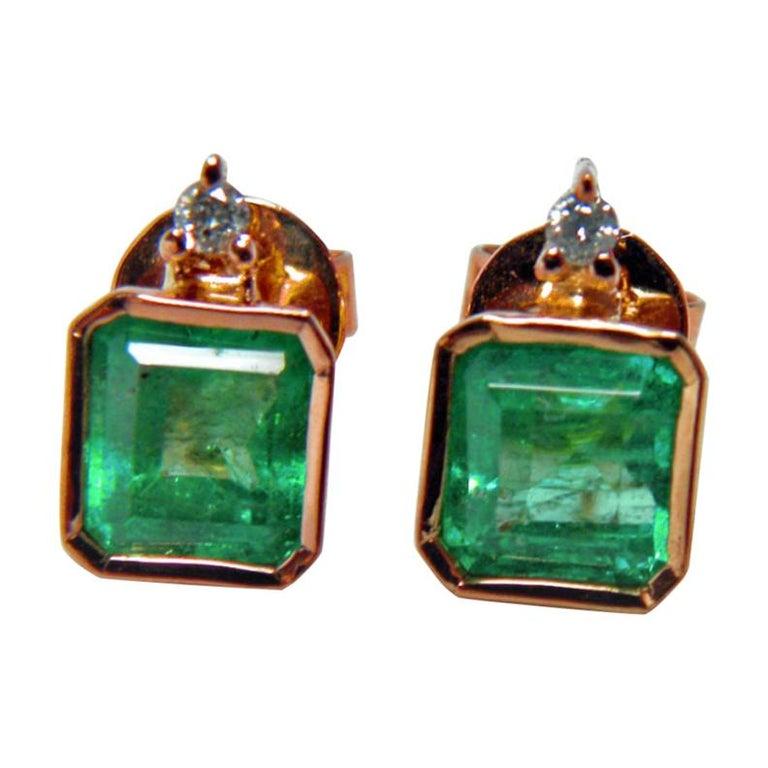 3.26 Carat Natural Green Colombian Emerald Stud Earrings 18 Karat Rose Gold For Sale