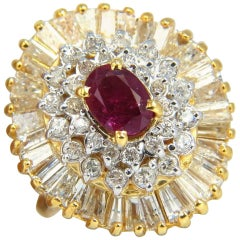 3.26 Carat Natural Ruby Diamonds Ballerina Cocktail Cluster Ring 14 Karat