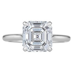 3.26 Carat Square Asscher Cut Diamond Platinum Engagement Ring