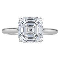 3.26 Carat Square Asscher Cut Diamond Platinum Engagement Ring