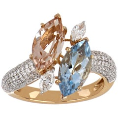 3.26 Carat Total Morganite and Aquamarine Ring with Diamonds in 18K Rose Gold