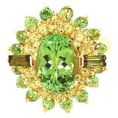 3.26 Ct. Tsavorite Garnet, Peridot, Green Tourmaline Yellow Gold Cocktail Ring