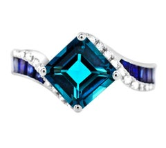 3.26 Carats Cushion London Blue Topaz Sapphire 14K White Gold Cocktail Ring