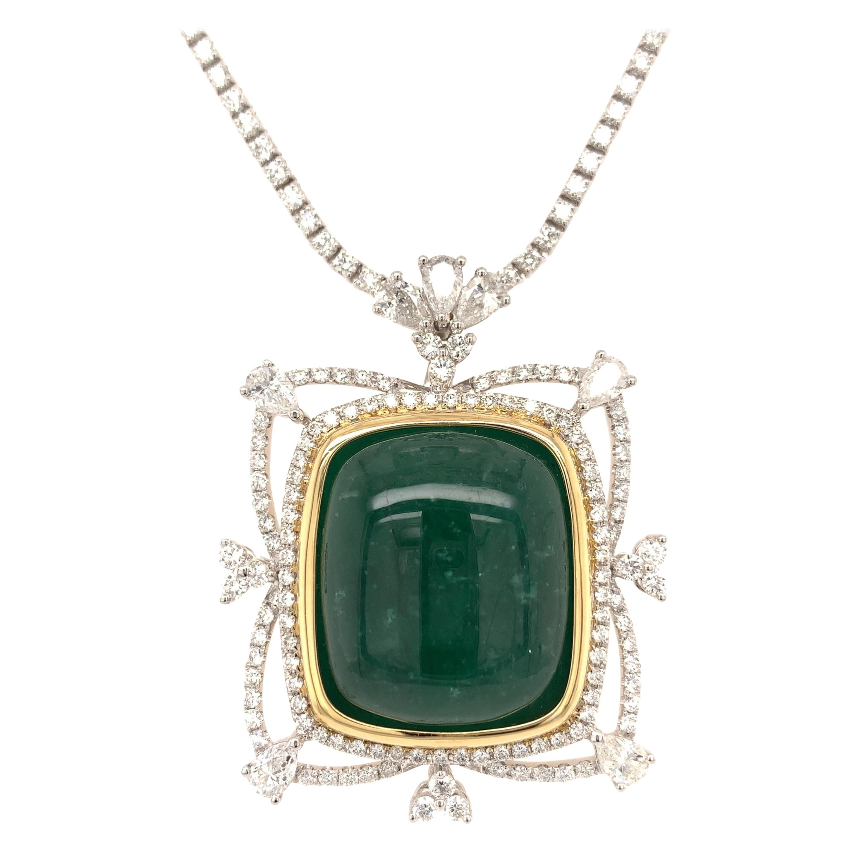 32.63 Carat Colombian Emerald Diamond Necklace