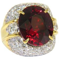 32.64ct GIA Natural Red Spessartite Garnet Diamonds Raised Dome Ring 18KT