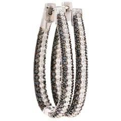 3.27 Carat Black and White Diamond 14 Karat White Gold Hoop Earrings