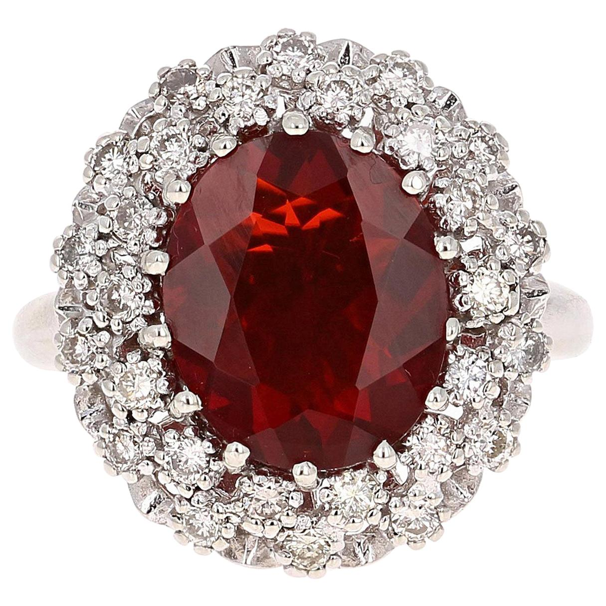 3.27 Carat Fire Opal Diamond 14 Karat White Gold Ring