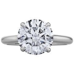 3.27 Carat Ideal Cut Round Brilliant Diamond Platinum Engagement Ring