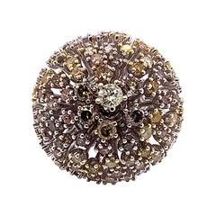 3.27 Carat Multi-Color Round Diamond Ring