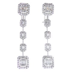 3.27 Carat Total Dangle Diamond Earrings in 18k White Gold