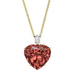 32.73 Carat Heart-Shaped Pink Tourmaline Pendant