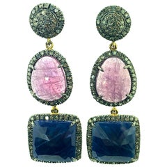 32.75 Carat Sapphire Earring with Diamond in Oxidized Sterling Silver, 14K Gold