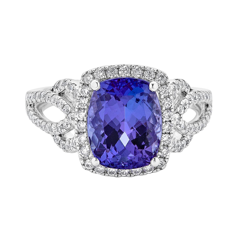 3.27ct Tanzanite Ring with 0.64tct Diamonds Set in 14k White Gold